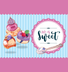 Dessert frame design with cupcake cheesecake vector