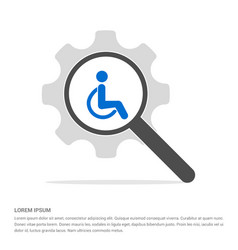 Disabled person icon search glass with gear vector