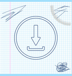 download line sketch icon isolated on white vector image