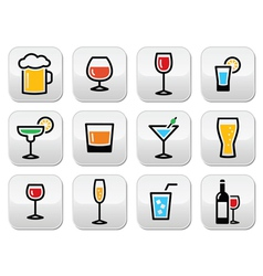 Drink colorful alcohol beverage buttons set vector image