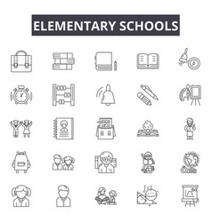 elementary school line icons for web and mobile vector image