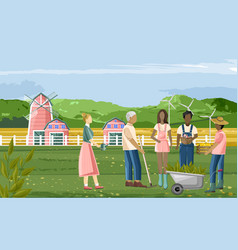 family farmer people working in garden vector image