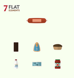 Flat icon meal set of canned chicken kielbasa vector