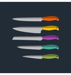 Flat kitchen knife icons set vector