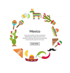 flat mexico attributes in circle shape vector image