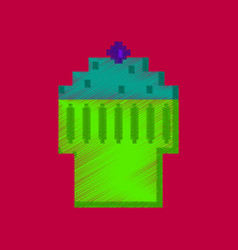 Flat shading style icon pixel fruit muffin vector