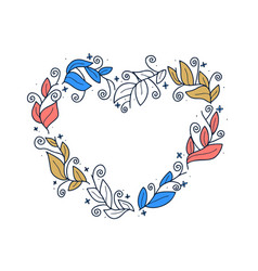 floral leaf wreath in shape heart vector image