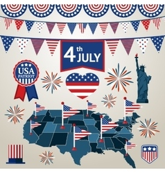 Fourth of july card with different signs and vector image