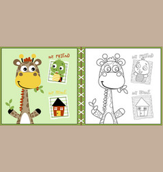 funny animals cartoon with a little home coloring vector image