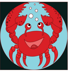 Funny cartoon crab on the colorless background vector