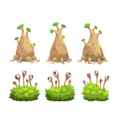 funny cartoon fantasy trees and bushes set vector image