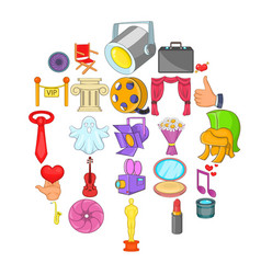 Gaiety icons set cartoon style vector