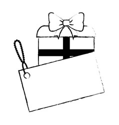 Gift box present with tag vector