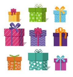 gifts or presents boxes icons for valentine xmas vector image