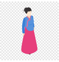 girl korean isometric icon vector image