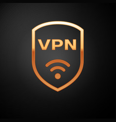 Gold shield with vpn and wifi wireless internet vector