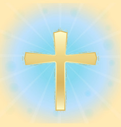 golden shiny metal cross biblical symbols easter vector image