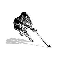 Grunge silhouette hockey player vector