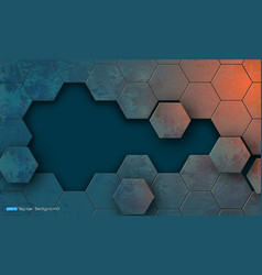grunge texture with hexagons segments vector image