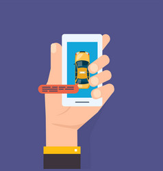 hand holds the smartphone taxi service calling vector image
