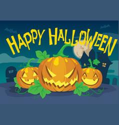 happy halloween design with three pumpkin vector image