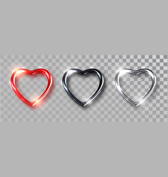 hearts realistic set black red silver hearts vector image