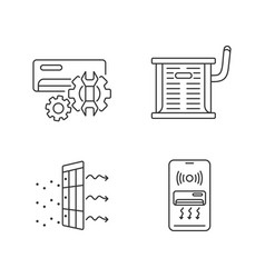 Heating and conditioning linear icons set vector