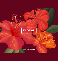 hibiscus spring flower exotic bloom hawaii vector image