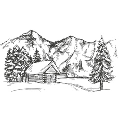 House in mountain the snow landscape hand drawn vector