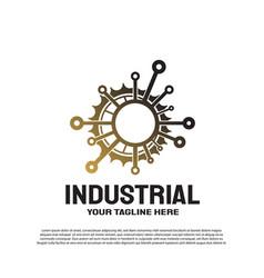 Industrial logo with gear concept engineering vector