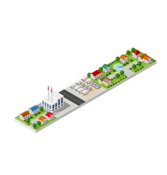 isometric landscape a small town vector image