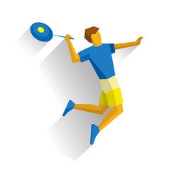 Jumping sportsman with a rocket badminton player vector