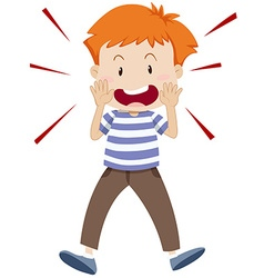 Little boy shouting alone vector