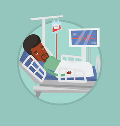 Man lying in hospital bed vector