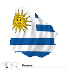 Map of Uruguay with flag vector image
