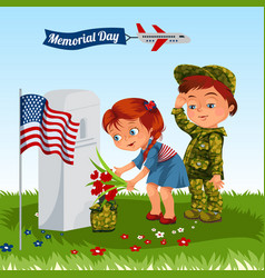 Memorial day child in military uniform vector