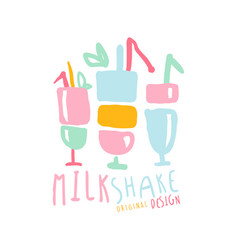 milk shake logo template original design element vector image