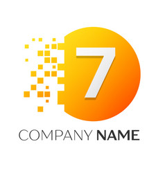 Number seven logo symbol in colorful circle vector