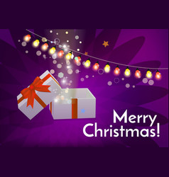 open gift box with merry christmas text vector image