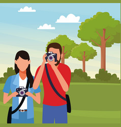 photographers with cameras vector image