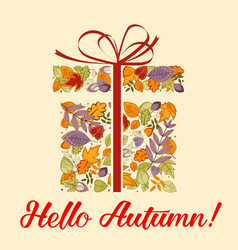 present leaves and herbal elements autumn vector image