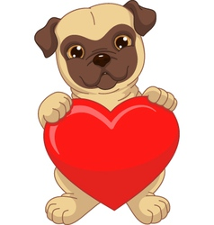 Puppy holding a red heart vector