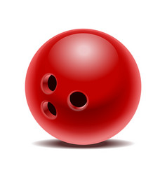 red glossy bowling ball isolated on white vector image