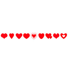 red heart line icon set happy valentines day vector image