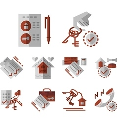 Rent of house flat color icons vector