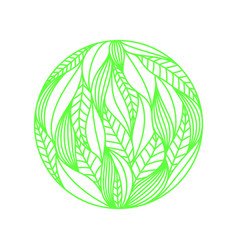 Round composition made of green linear leaves on vector