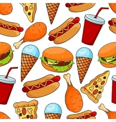 Seamless pattern of tasty fast food vector image vector image