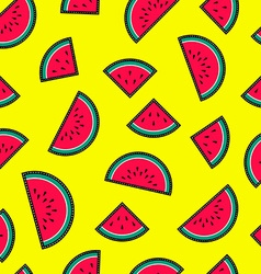 Seamless pattern with watermelon fruit icons vector image