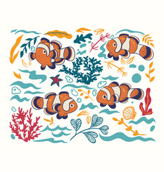 set clown fish and nautical elements isolated vector image