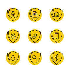 set linear safety icons vector image